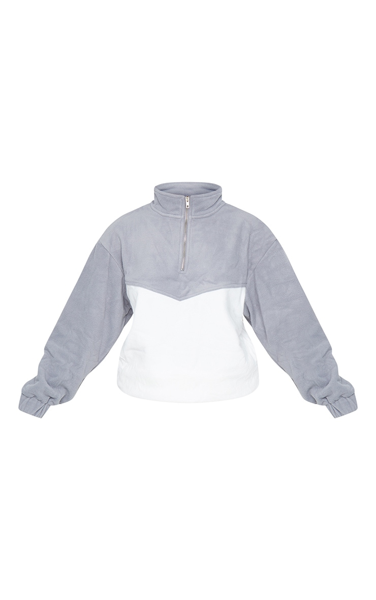 Grey Borg Contrast Panel Half Zip Sweatshirt 5