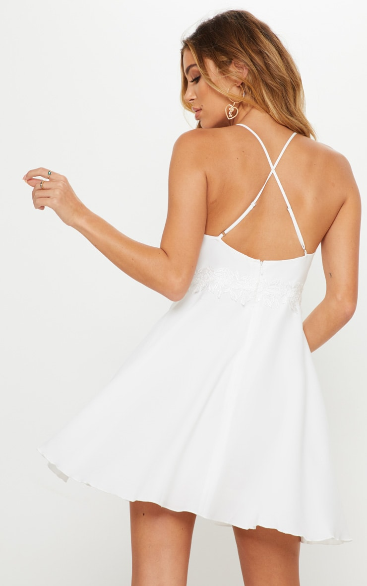 White Lace Trim Plunge Skater Dress 2