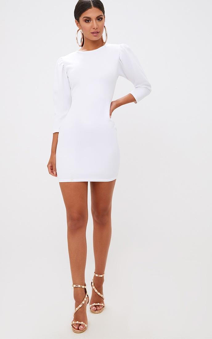 White Puff Detail 3/4 Sleeve Bodycon Dress 4
