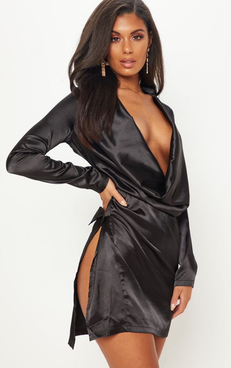 Black Satin Cowl Neck Extreme Open Back Bodycon Dress 1