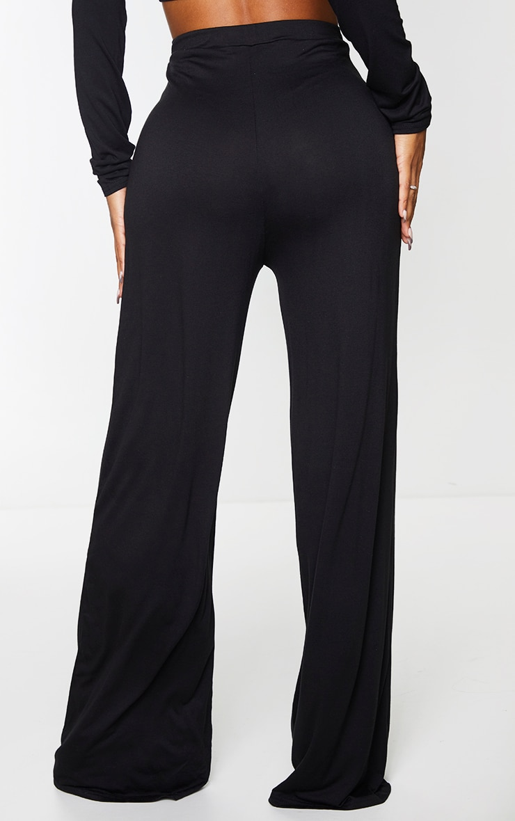 Shape Black Jersey V Front Wide Leg Trousers 3