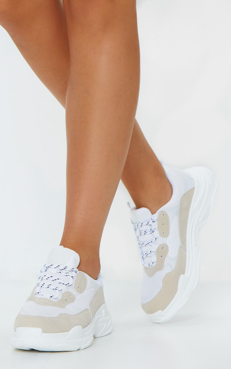 White Chunky Contrast Panel Trainers 2