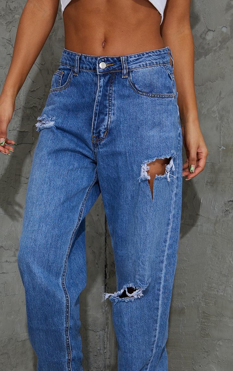 PRETTYLITTLETHING Mid Blue Wash Open Knee Boyfriend Jeans 4