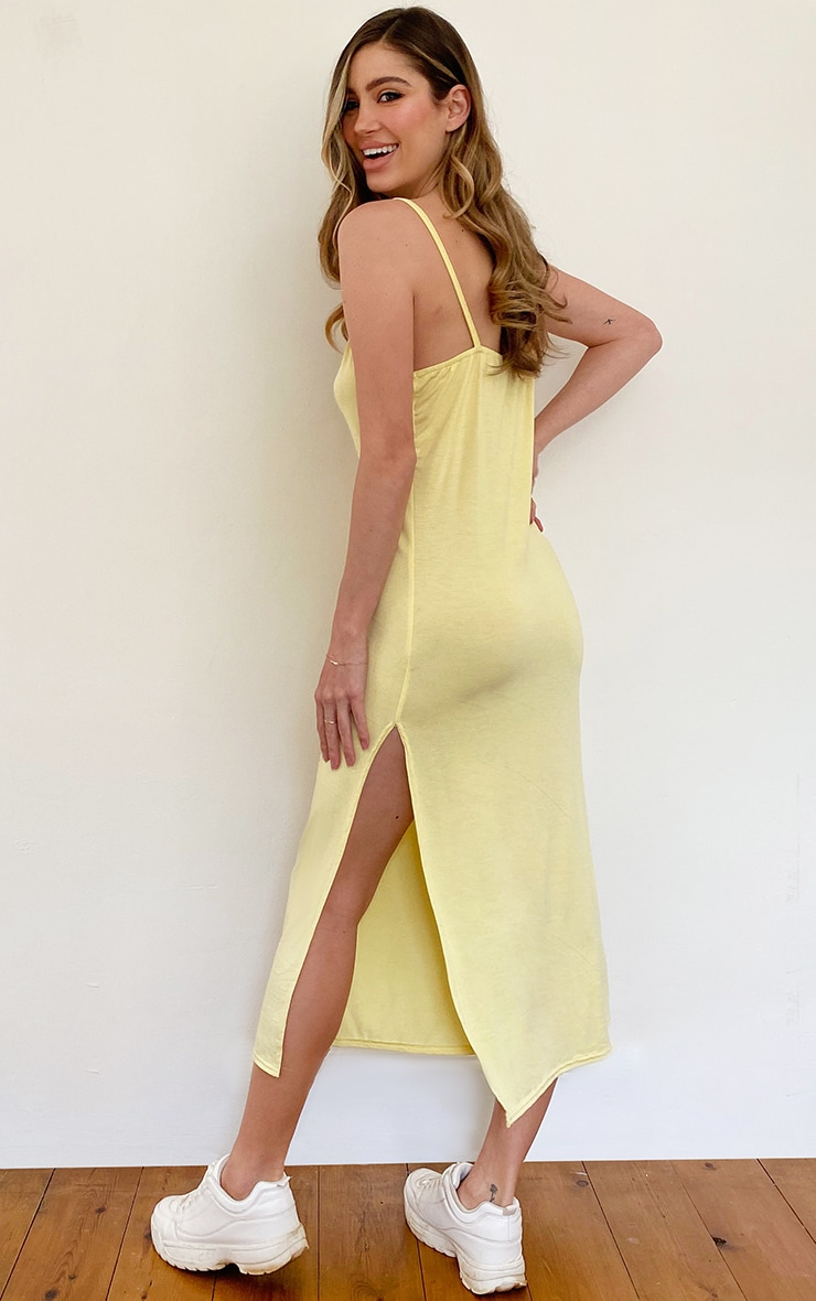 Lemon Jersey Split Cami Midi Dress 2