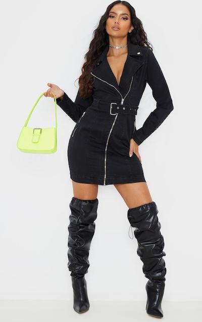 Black Belted Zip Detail Denim Dress