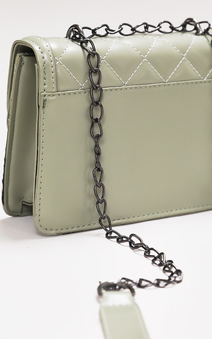 Sage Green Quilted Cross Body Bag 4