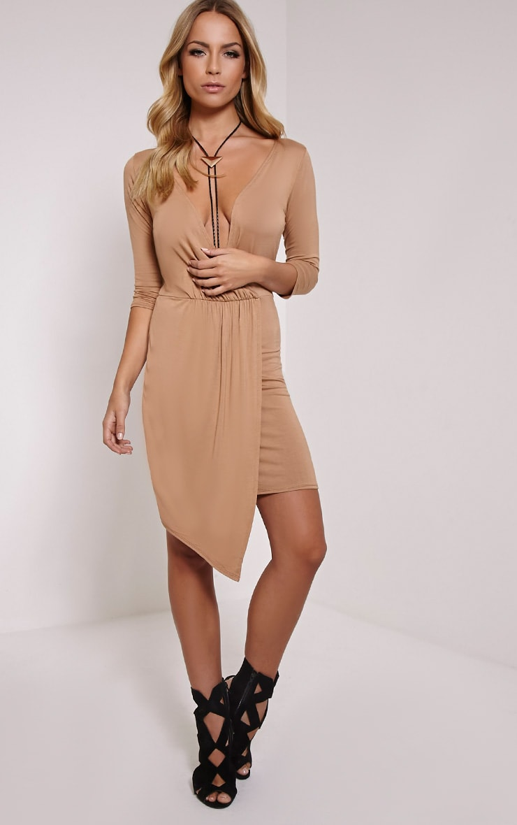 Keevy Camel Jersey Wrap Mini Dress 4