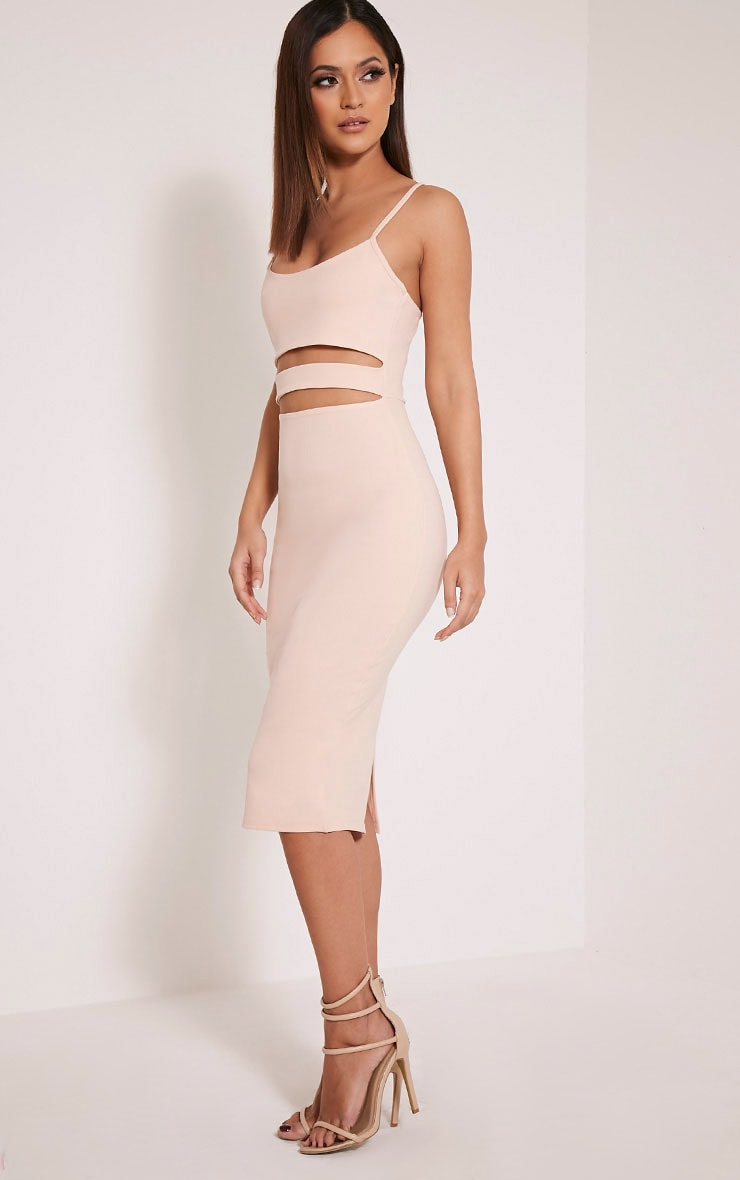 Kheelie Nude Cut Out Midi Dress 4