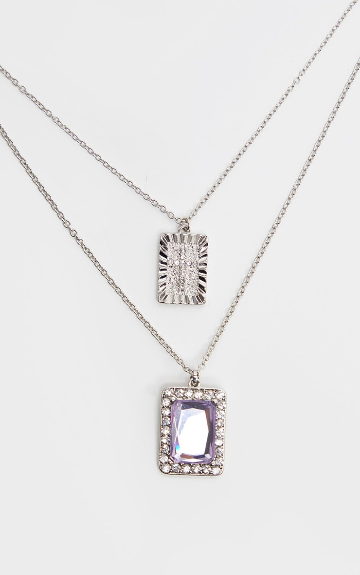 Silver Lilac Stone Cross Double Layering Necklaces 3