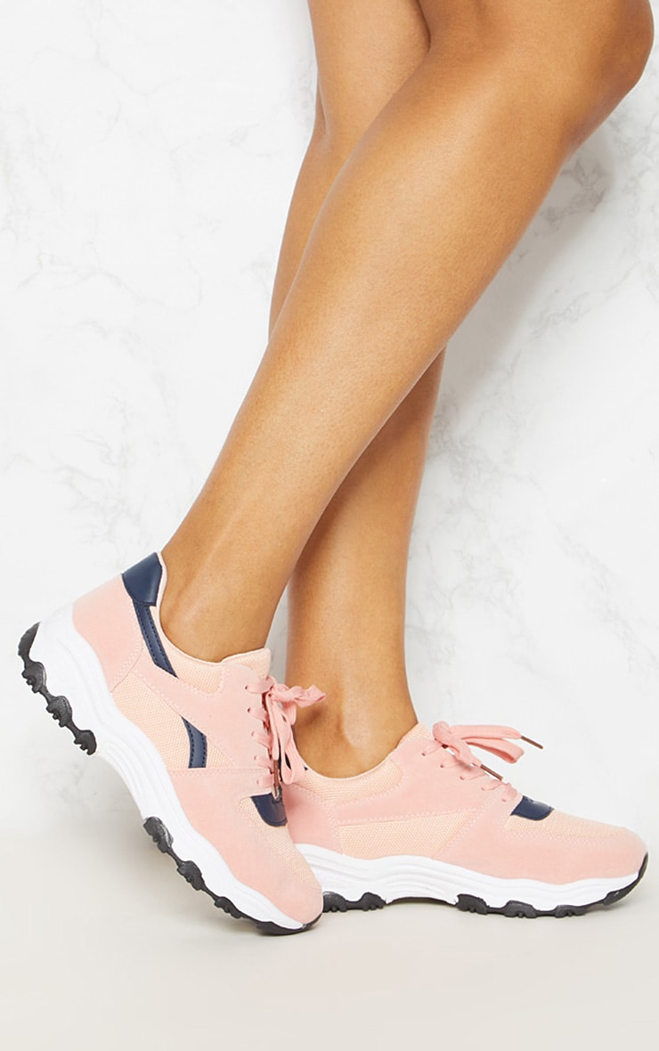 Pink Lace Up Chunky Trainer 1