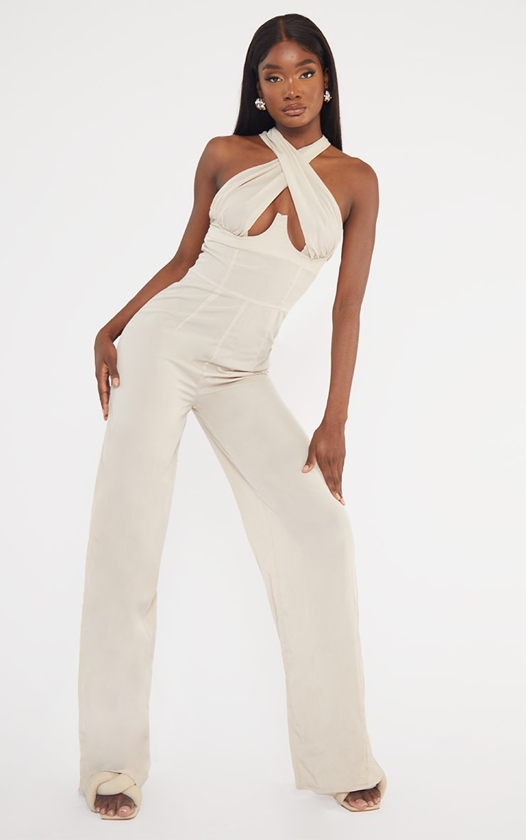 Tall  Stone Wrap Front Under Bust Wide Leg Jumpsuit 1