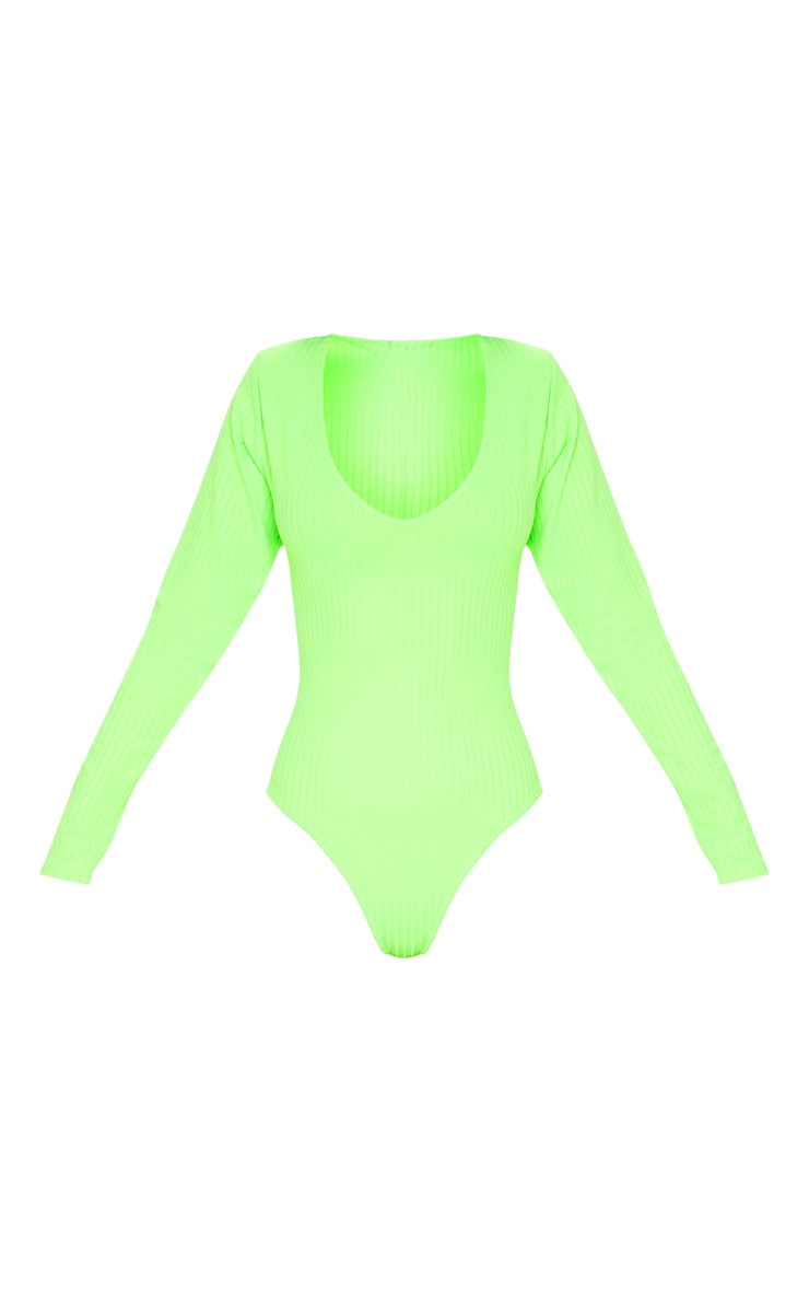 Neon Lime Rib Plunge Long Sleeve Bodysuit 3