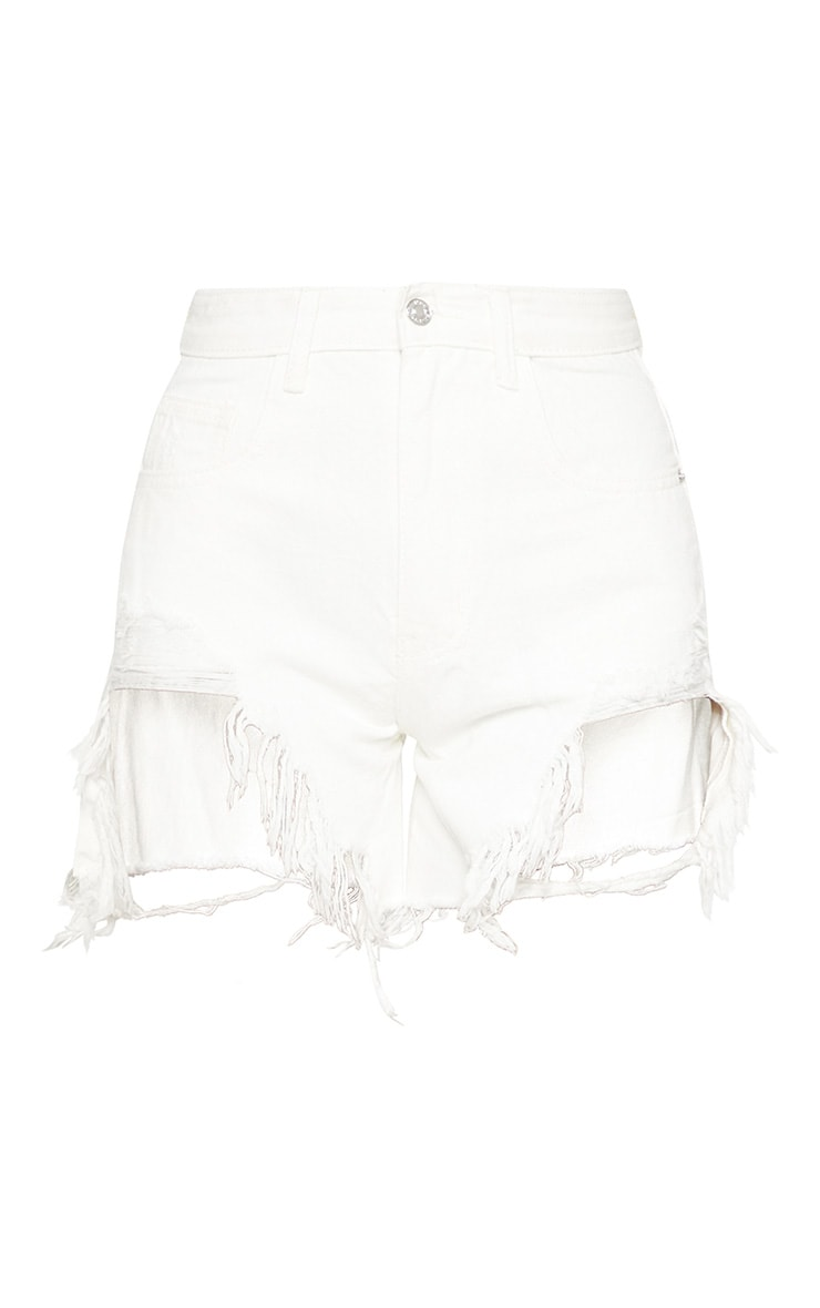 White Distressed Longline Denim Shorts  3