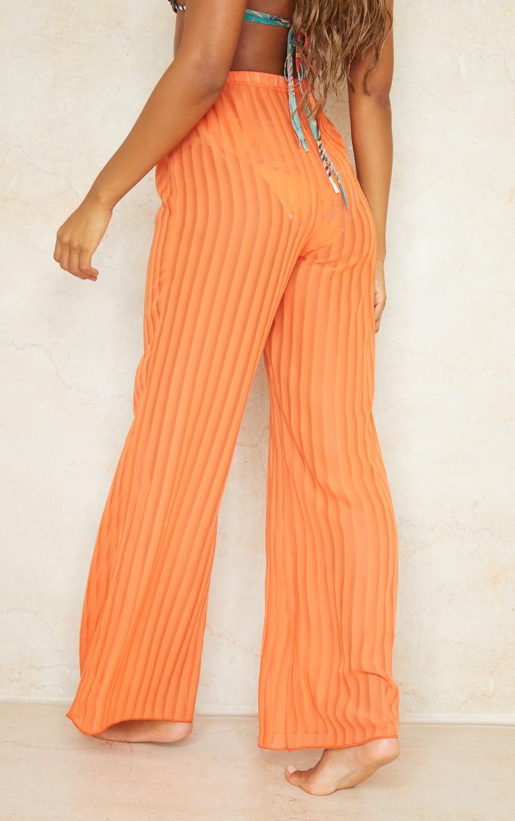 Orange Sheer Stripe Wide Leg Beach Pants 3