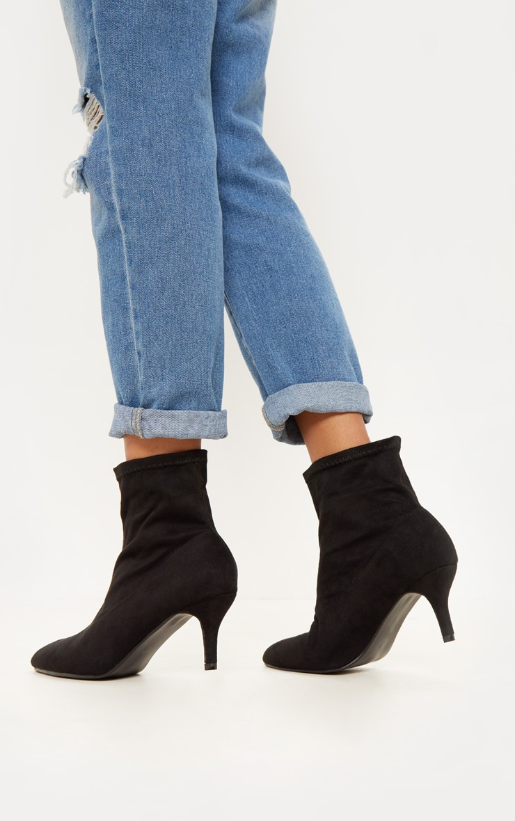 Black Mid Heel Sock Boot 1