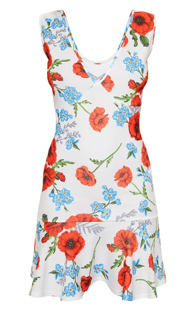 White Floral Print Plunge Frill Hem Bodycon Dress 3