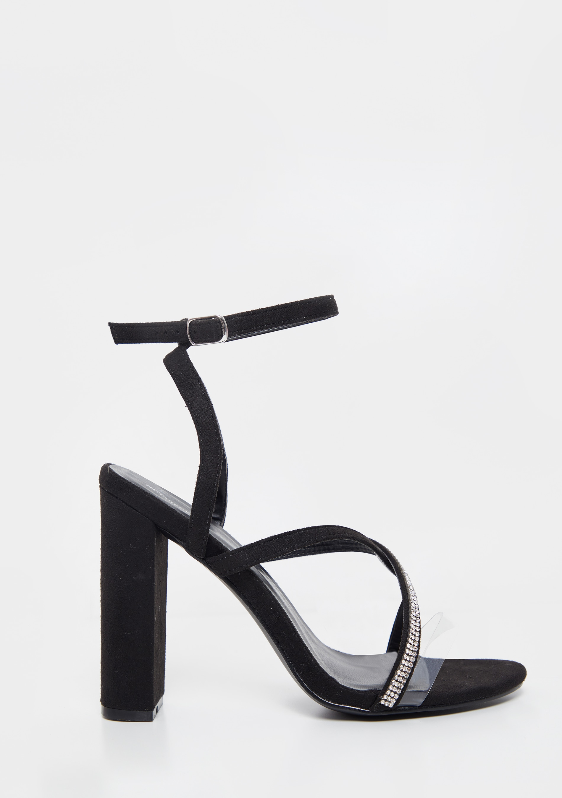 Black Asymmetric Diamante Block Heel Sandal 3