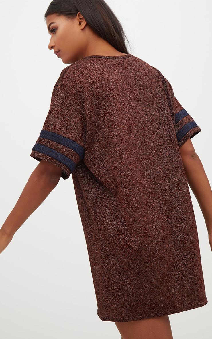 Bronze Lurex Sports Stripe T Shirt Dress 2