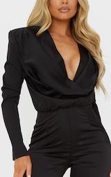 Black Satin Cowl Neck Long Sleeve Jumpsuit 4