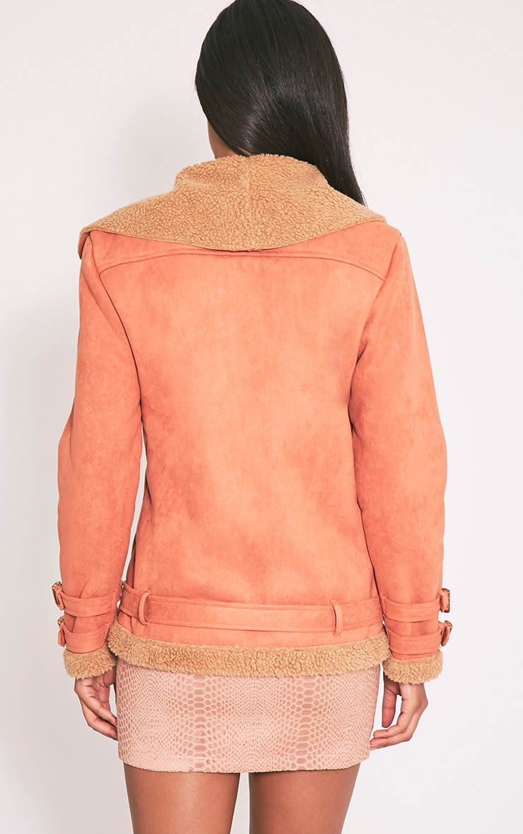 Emilia Deep Peach Faux Suede Aviator Jacket 3