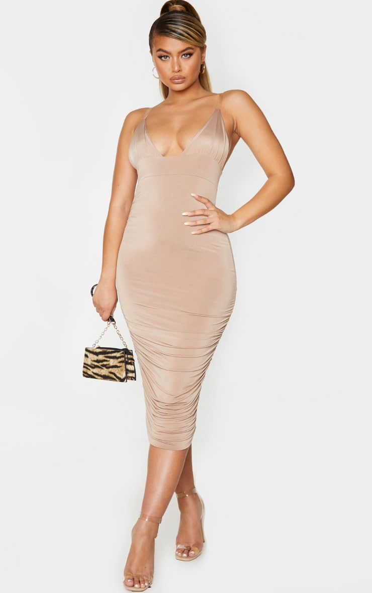 Taupe Slinky Ruched Clear Strap Midi Dress 1