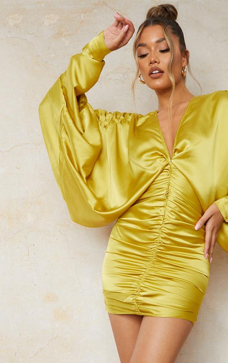 Olive Satin Batwing Gathered Bodycon Dress 4