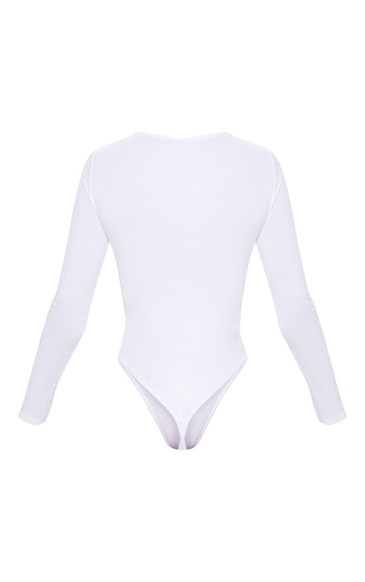 Essential White Cotton Blend V Neck Long Sleeve Bodysuit 6