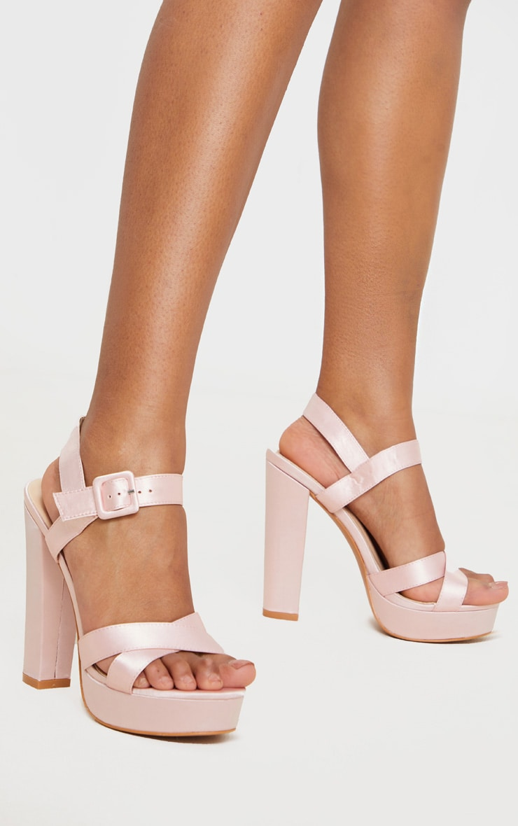 Nude Cross Strap Buckle Detail Platform Sandal 1
