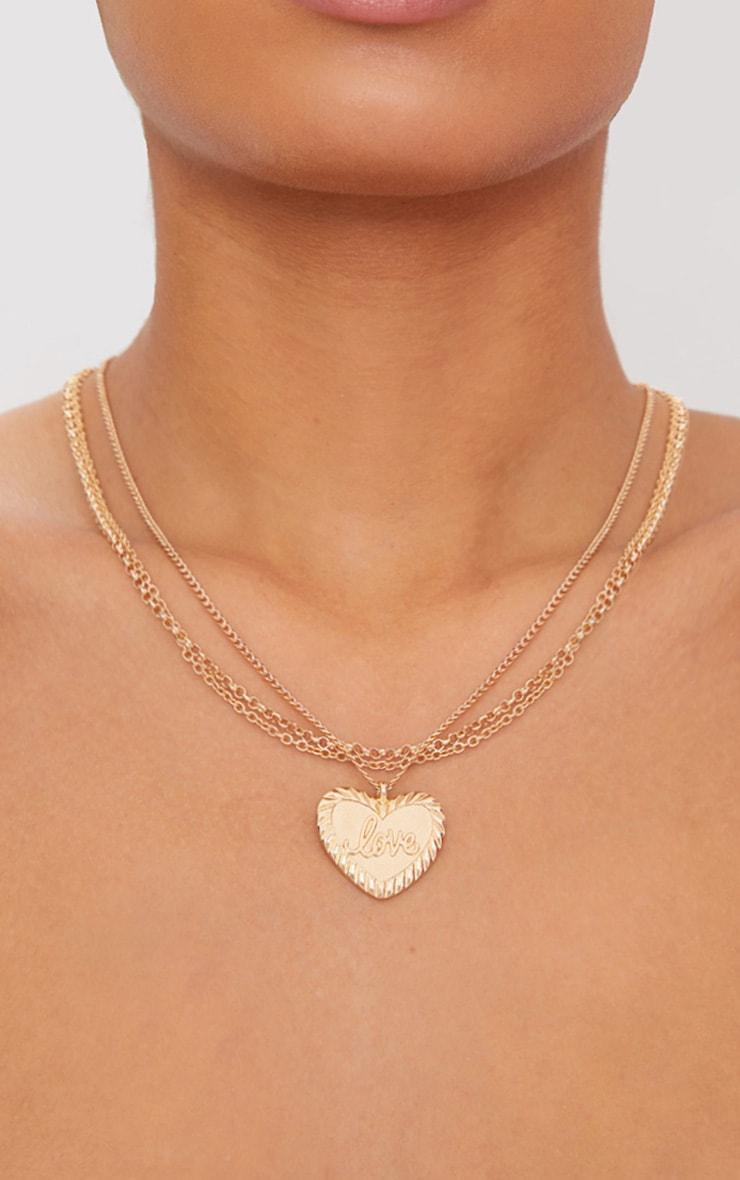 Gold Love Heart Pendant Necklace