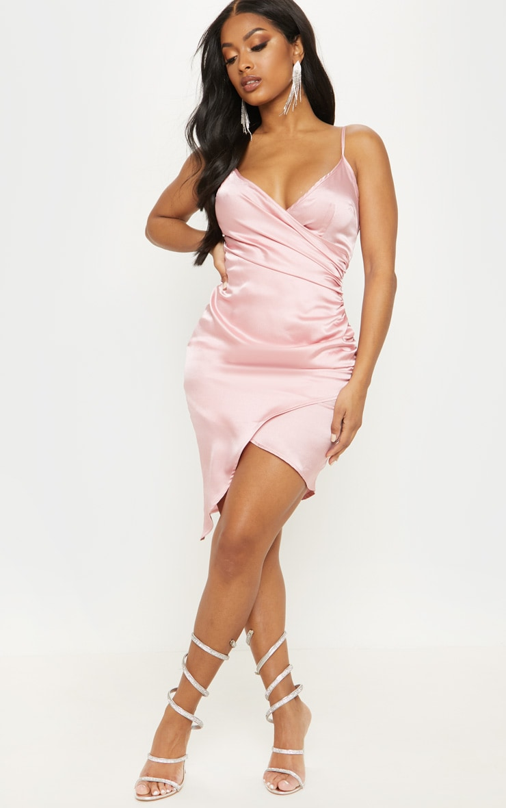 Shape Dusty Pink Satin Wrap Dress 4