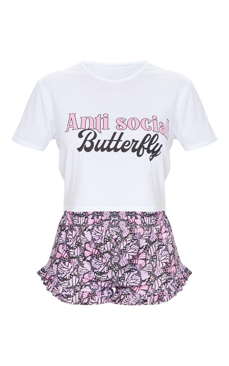 Purple Anti-Social Butterfly Short Pj Set 5