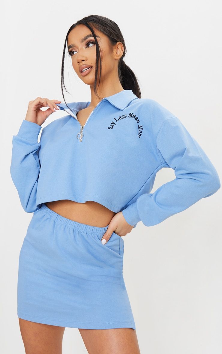 Petite Blue Speak Less Mean More Zip Through Collar Sweatshirt 1