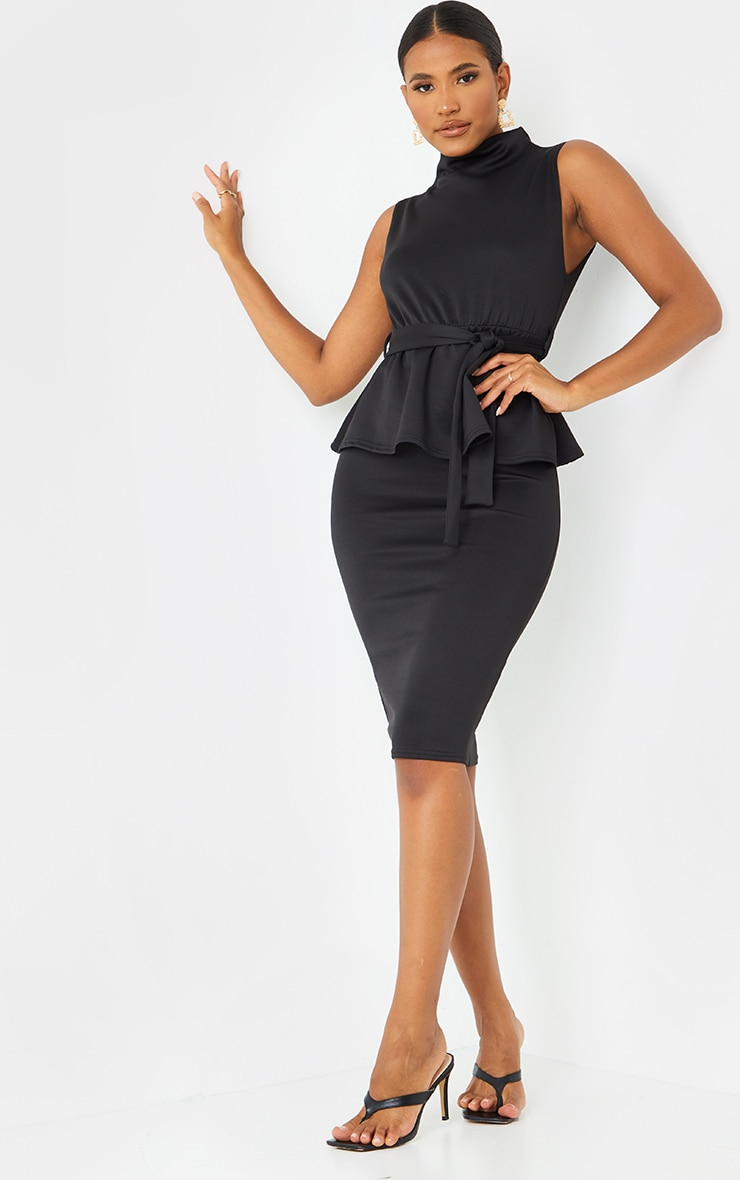 Black High Neck Tie Waist Peplum Midi Dress 1