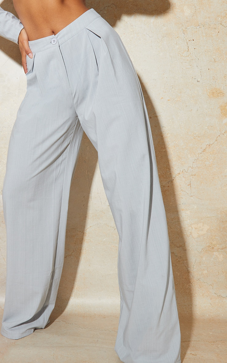 Light Grey Wide Leg Woven Pleated Detail Trousers 4