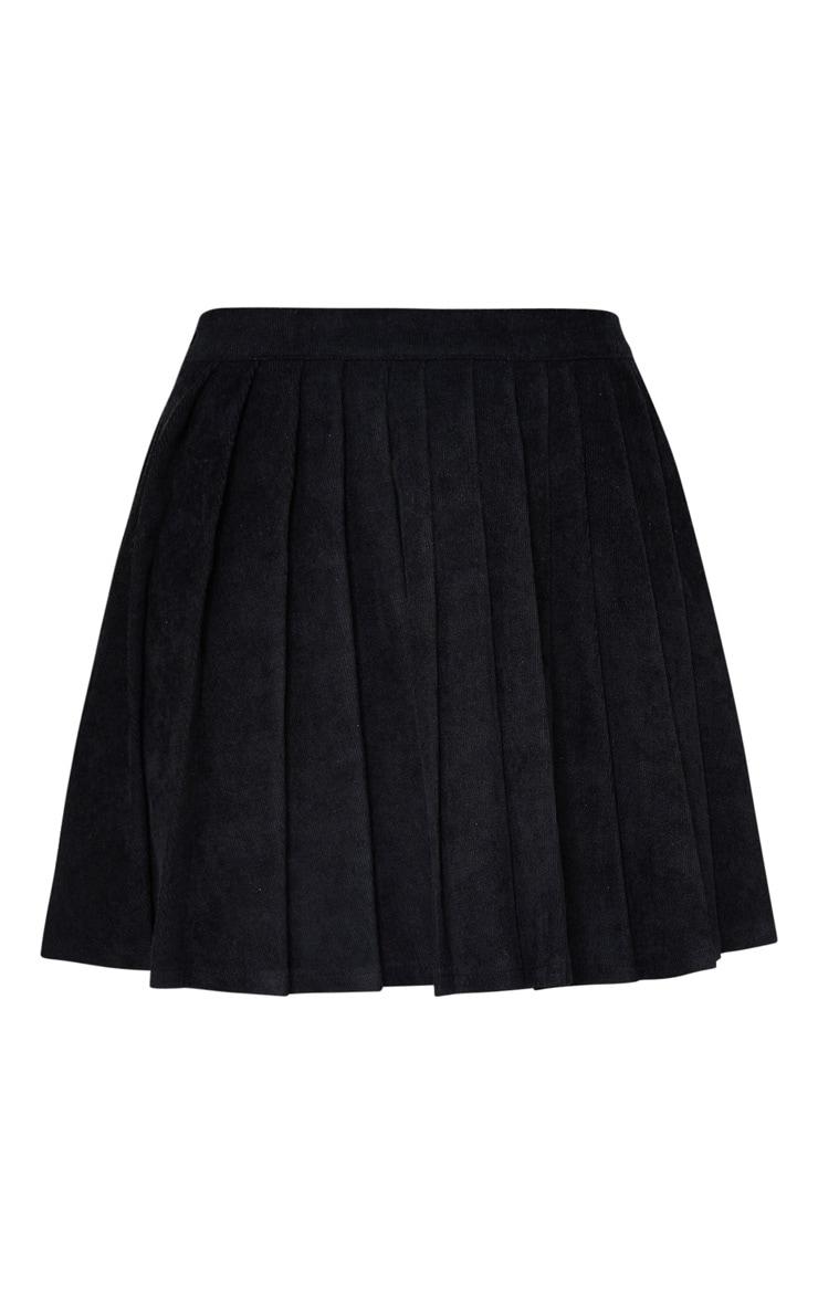 Black Cord Pleated Skater Skirt 6