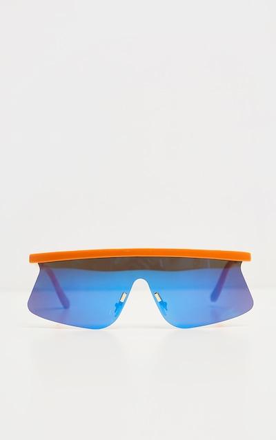 Orange Flat Top Revo Sporty Sunglasses