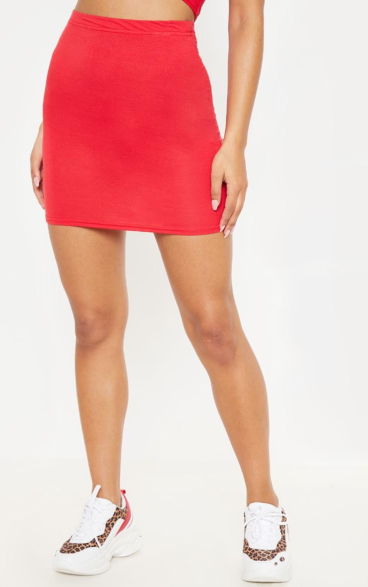 Mini-jupe rouge basique en jersey 2