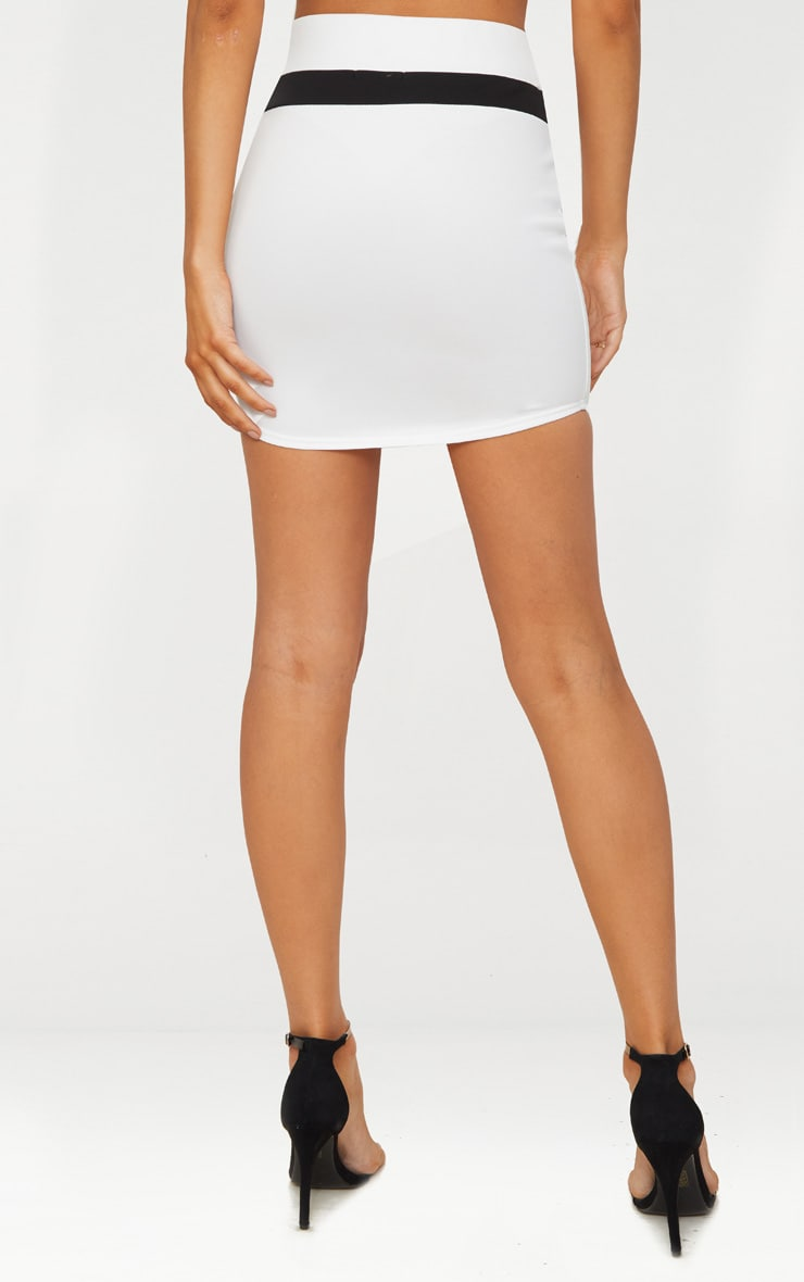 White Scuba Contrast Panel Curve Hem Mini Skirt  4