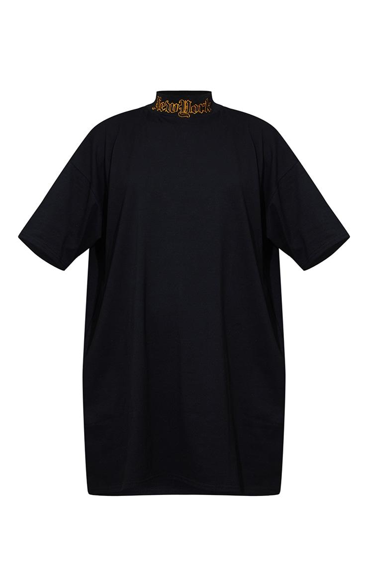 Black High Neck New York Embroidered T Shirt Dress 5