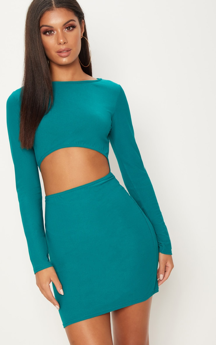 Deep Turquoise Long Sleeve Cut Out Bodycon Dress 1