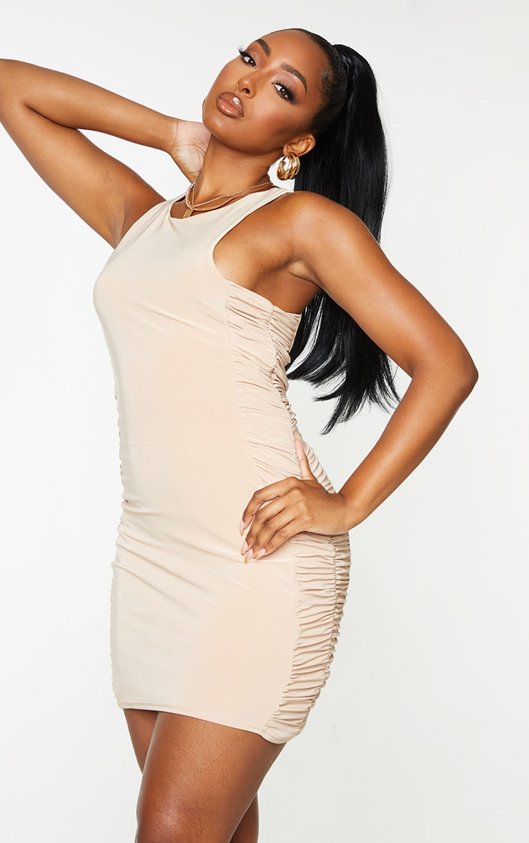 Stone Slinky Racer Neck Ruched Side Bodycon Dress 3