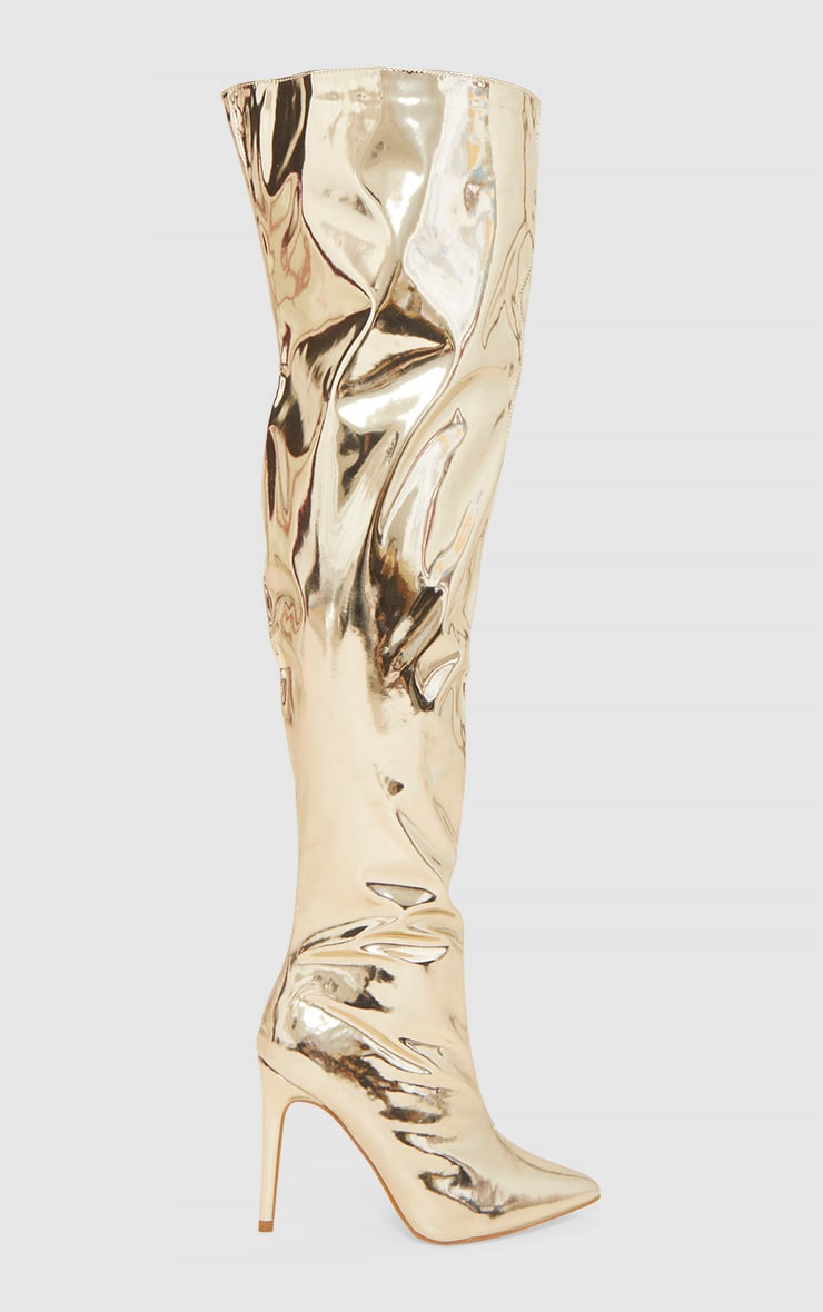 Gold Metallic Thigh High Boot 3