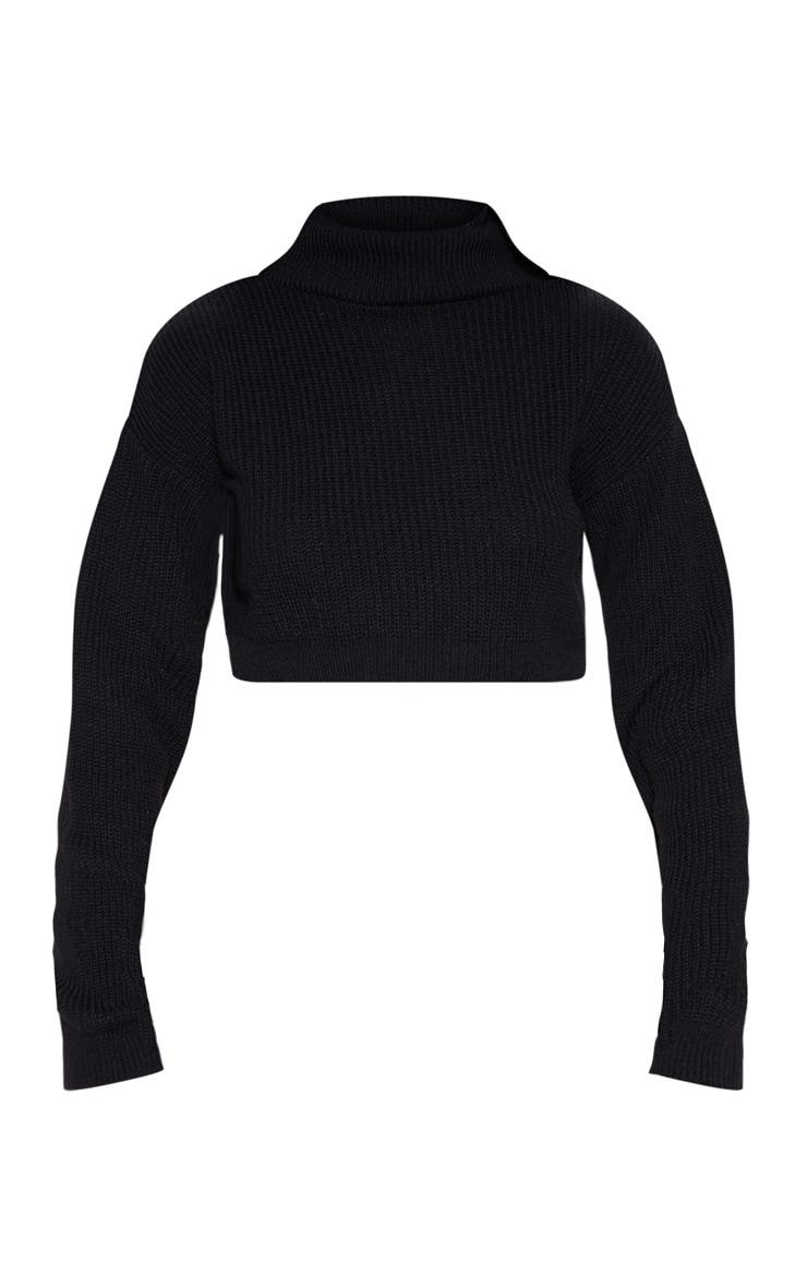 Black Super Cropped High Neck Knitted Jumper  3
