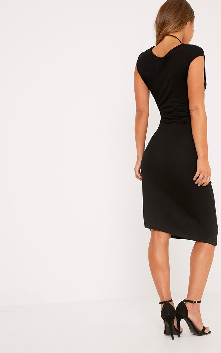 Petite Ayn Black Aysmmetric Drape Midi Dress 2