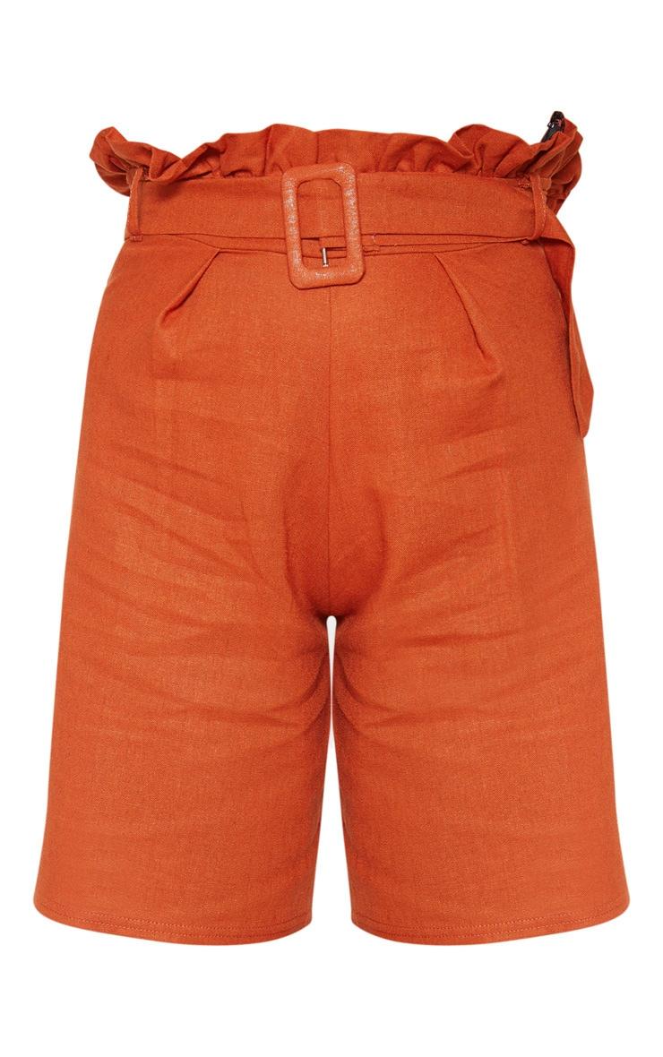 Rust Linen Feel Belted Paperbag Waist Short  3