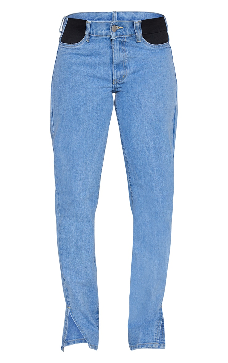 Maternity Light Wash Straight Leg Split Hem Jeans 5