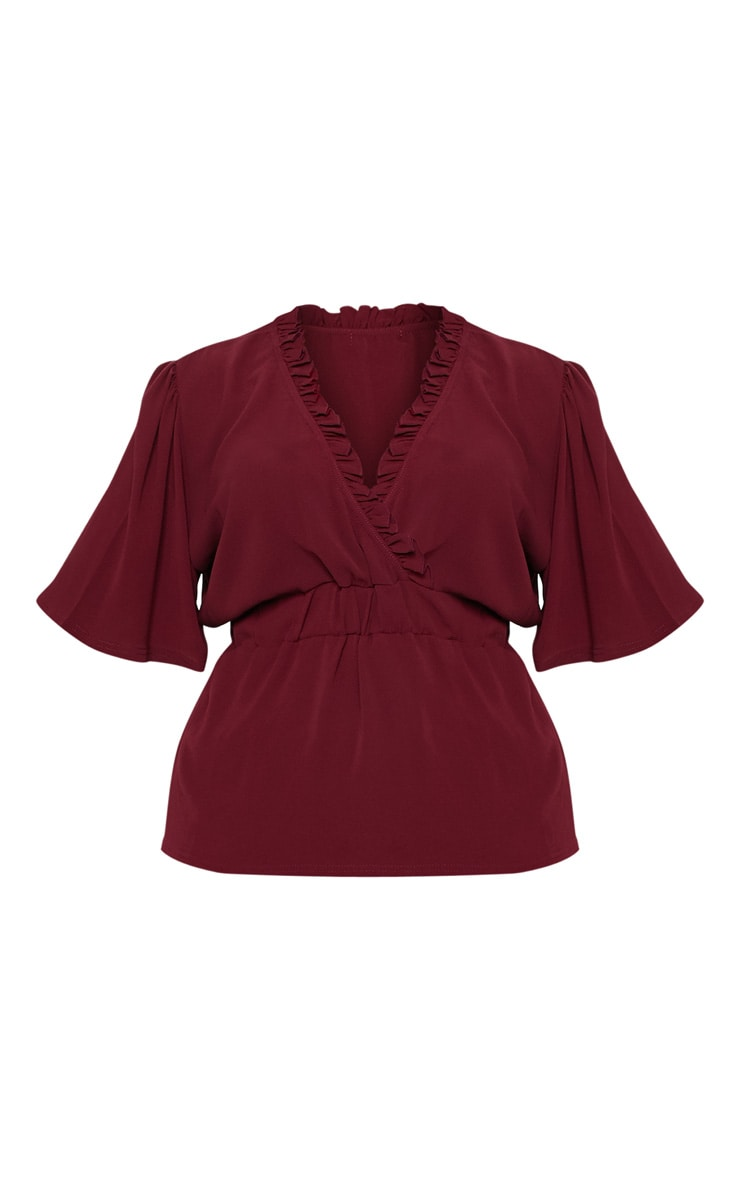 Plus Burgundy Frill Detail Wrap Top 3