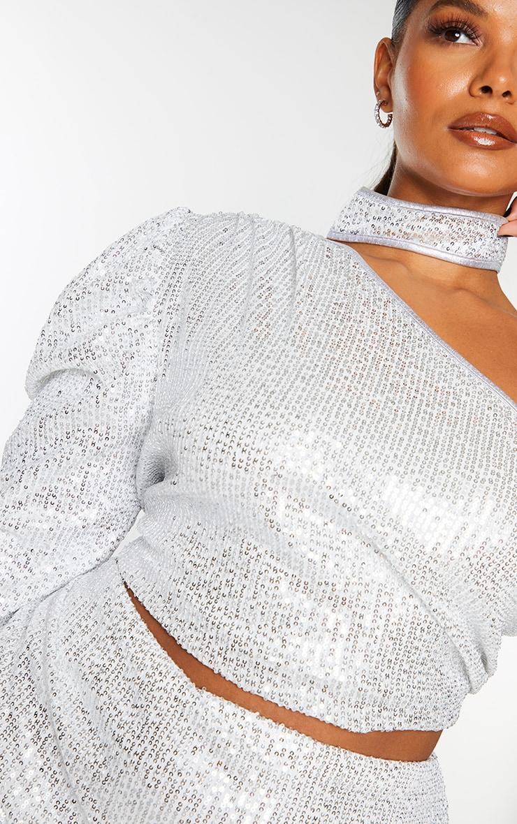 Plus Silver Sequin Halterneck Detail One Sleeve Crop Top 4