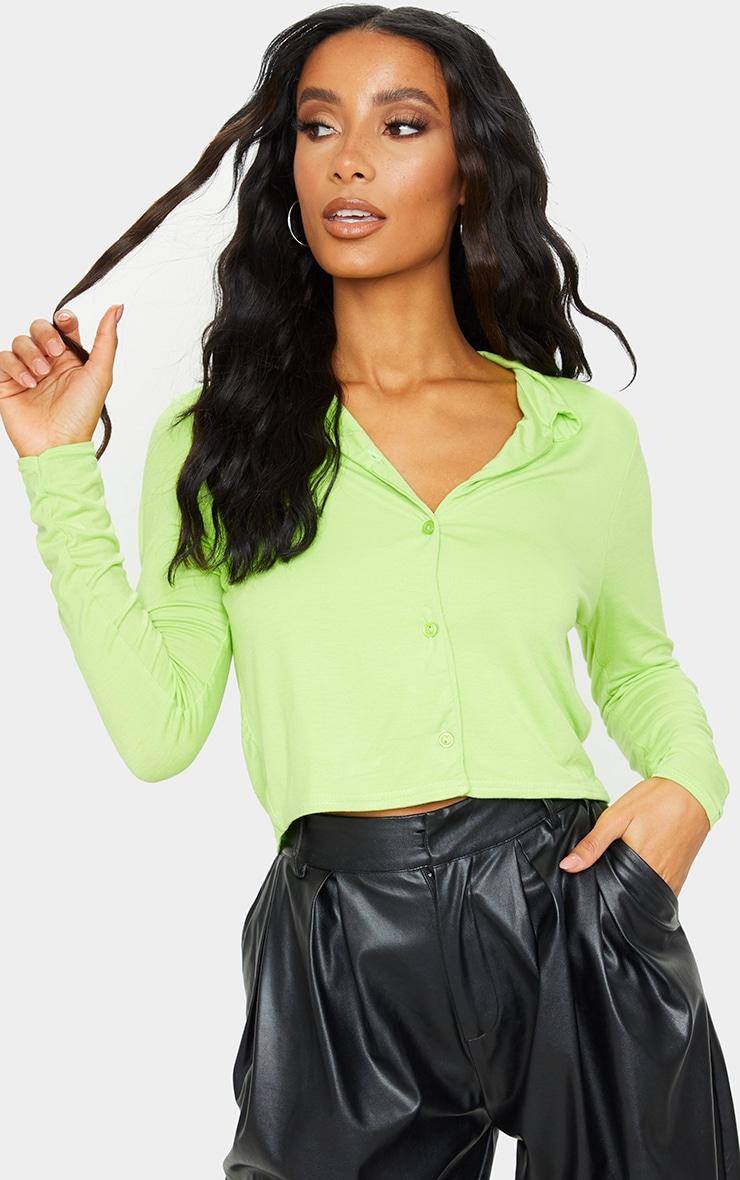 Lime Jersey Button Up Shirt 1