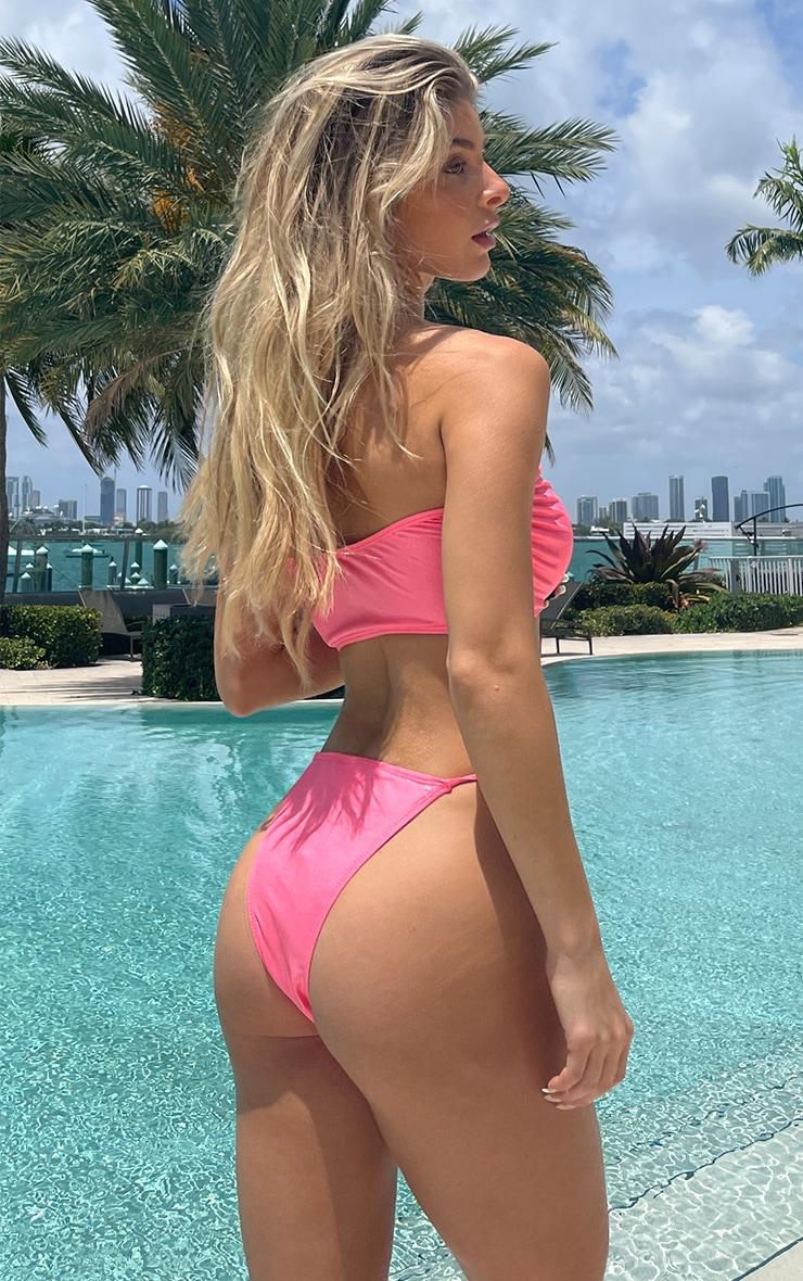 Hot Pink Diamante Heart Ruched Bikini Top 2